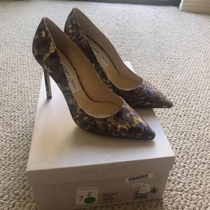Jimmy Choo Romy Purple Gold High Heels Size 38